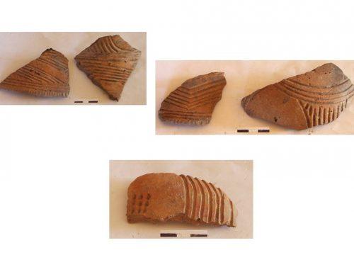Фрагменти трипільської кераміки з ритим орнаментом, з експедиції 2003 року, с. Долина