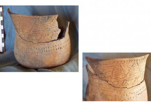 горщик середньодніпровської культури, ймовірно з поховання, знайдений в с. Долина, 2003 рік