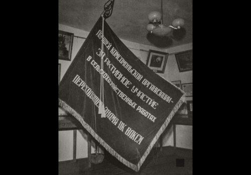 Прапор в експозиції першого музею в с. Трипілля