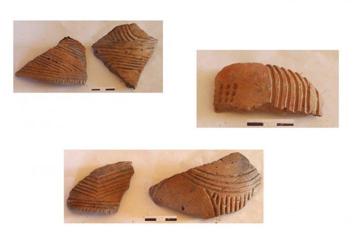 Кераміка трипільської культури: фрагменти покришок з заглибленим орнаментом