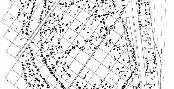 План поселення Майданецьке за даними археолого-магнітометричних досліджень (за В. П. Дудкіним)